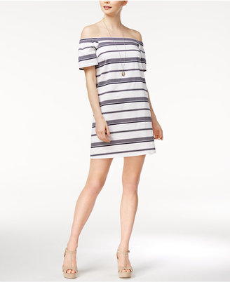 Maison Jules Striped Off-The-Shoulder Dress, Only at Macy's $69.50 thestylecure.com