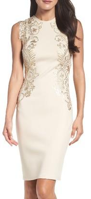 Women's Tadashi Shoji Sequin Applique Neoprene Sheath Dress $348 thestylecure.com