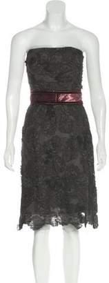 Lela Rose Lace Strapless Dress