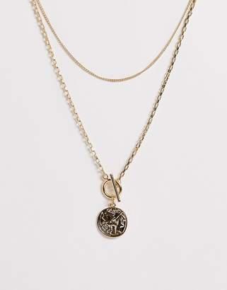 Pieces double layer roman pendant necklace