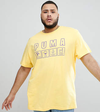 Puma Plus Organic Cotton T-Shirt With Front Print In Yellow Exclusive To Asos