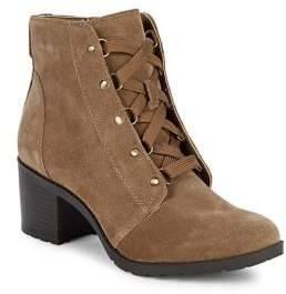 Anne Klein Kimbree Lace-Up Leather Boots