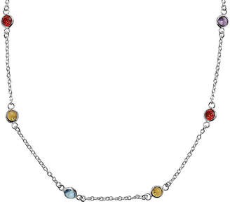 STERLING SILVER CHAINS Silver Reflections Cubic Zirconia 20 Bezel Chain Necklace