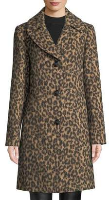 Kate Spade Novelty Wool Brushed Leopard Coat