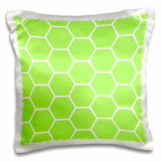3dRose Lime Green honeycomb hexagon pattern - bright neon honey comb - modern bee hive inspired hexagons, Pillow Case, 16 by 16-inch