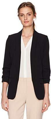 Calvin Klein Women's Petite Open Soft Suiting Jacket with Rouched Sleeves