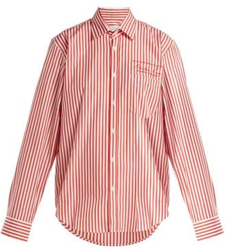 Martine Rose Logo Embroidered Striped Cotton Shirt - Womens - Red Stripe