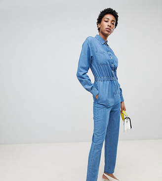 dc9b9f4af1 Asos Tall DESIGN Tall denim utility jumpsuit in blue