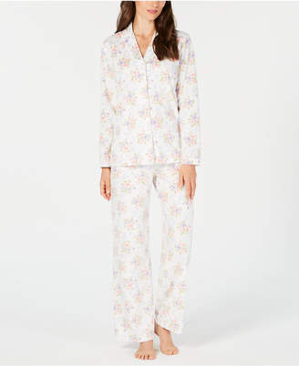 Charter Club Printed Fleece Notched Collar Pajama Set, Created for Macy's