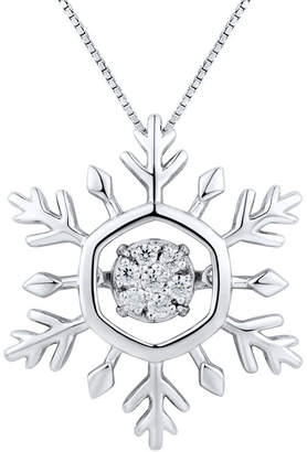 FINE JEWELRY 1/10 CT. T.W. Diamond Sterling Silver Snowflake Pendant Necklace