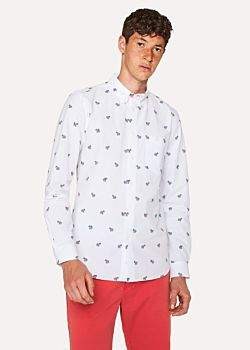 Paul Smith Men's Tailored-Fit White Small 'Zebra' Polka Dot Shirt