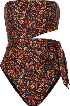Zimmermann Juniper Scarf Cutout Knotted Printed Swimsuit