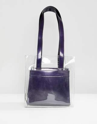 Asos Design DESIGN two in one plastic grab handle bag with removable metallic shopper