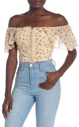 Fanco Floral Off-the-Shoulder Crop Top