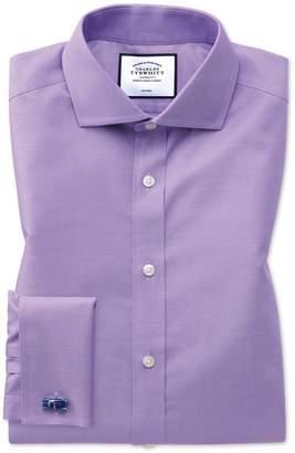 Charles Tyrwhitt Slim Fit Non-Iron Spread Collar Lilac Twill Cotton Dress Shirt Single Cuff Size 14.5/32