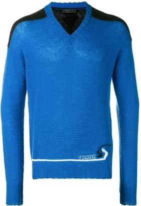 Prada panelled V-neck sweater