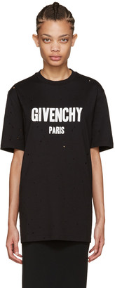 Givenchy Black Distressed Logo T-Shirt $750 thestylecure.com