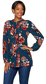 Isaac Mizrahi Live! Fall Floral Printed PleatFront Blouse
