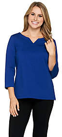 Joan Rivers Classics Collection Joan Rivers Wardrobe Builders 3/4 Sleeve Top w/Notch Neckline