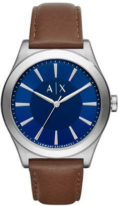 Armani Exchange A|X  Men's 'Smart' Quartz Stainless Steel and Leather Automatic Watch, Color: (Model: AX2324)