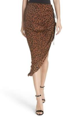 Diane von Furstenberg Asymmetrical Ruched Silk Jersey Skirt