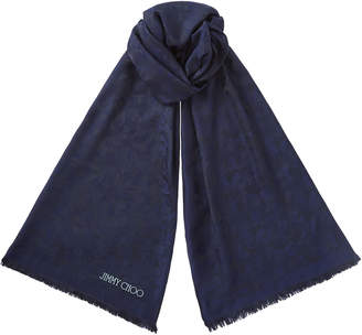 Jimmy Choo ZOEY Navy Silk and Modal Blend Woven Jacquard Stole