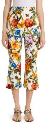 Dolce & Gabbana Floral Bamboo Print Cropped Pants