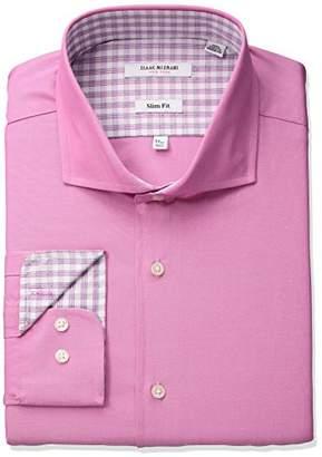 Isaac Mizrahi Men's Slim Fit Solid Cut Away Collar Dress Shirt