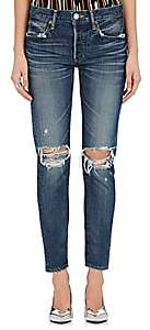 Moussy Women's Latrobe Distressed Tapered Jeans - Md. Blue