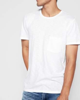 7 For All Mankind Short Sleeve Raw Pocket Crew in White