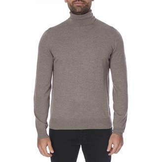 Taupe Roll Neck Merino Wool Jumper