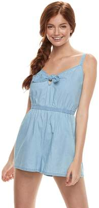 Juniors' Lily Rose Tie Front Chambray Romper