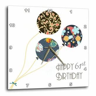3dRose Happy 61st Birthday - Modern stylish floral Balloons. Elegant black brown blue 61 year old Bday, Wall Clock, 10 by 10-inch