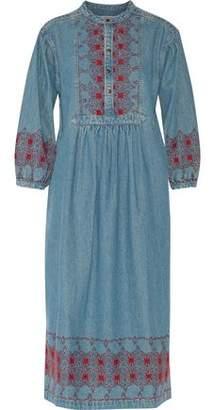 Current/Elliott Embroidered Denim Midi Dress