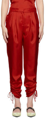 Tibi Red Twill Mendini Shirred Trousers