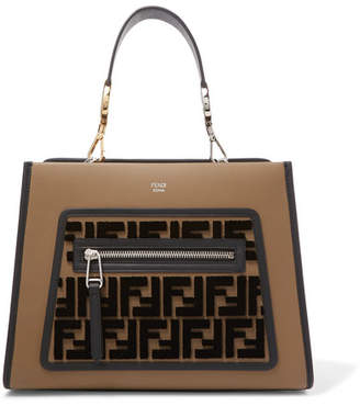 Fendi Runaway Small Flocked Leather Tote - Brown
