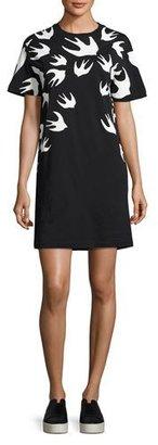 McQ Alexander McQueen Short-Sleeve Jersey Swallow-Print T-Shirt Dress, Black $210 thestylecure.com
