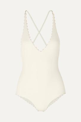 Marysia Swim Torrey Knotted Stretch-crepe Swimsuit - White