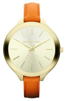 Michael Kors Ladies' Orange Leather & Gold-Tone Stainless Steel Watch