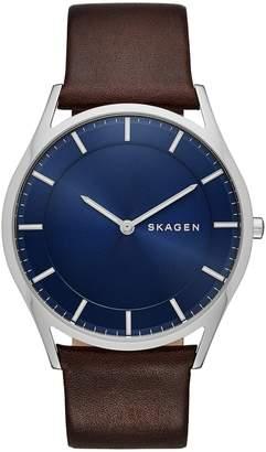 Skagen Holst Slim Stainless Steel Leather Watch