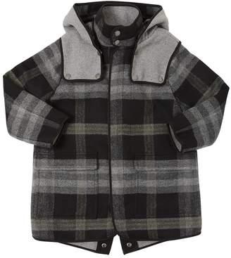 Stella McCartney Hooded Plaid Wool Blend Cloth Coat