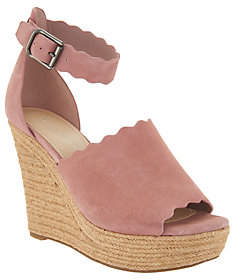 Marc Fisher Suede Ankle Strap Espadrille Wedge- Haya