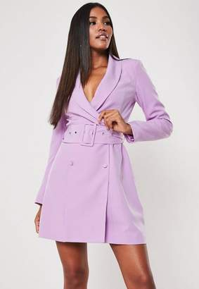 Missguided Lilac Belted Blazer Dress