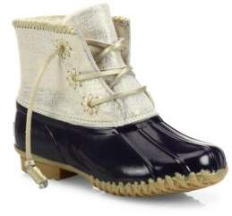 Jack Rogers Chloe Classic Whipstitch Metallic Leather& Rubber Boots