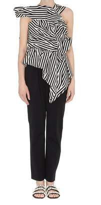 Self-Portrait Stripe Ruffle Jumpsuit