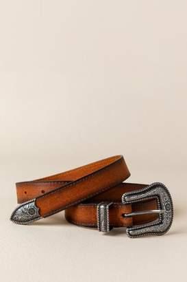 francesca's Bev Western Buckle Leather Belt in Cognac - Cognac
