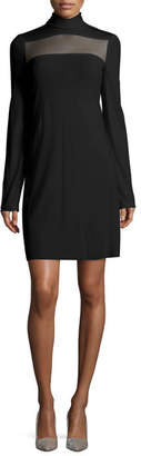 Calvin Klein Long-Sleeve Sheer-Paneled Dress, Black