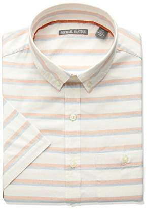 Michael Bastian Men's Short Sleeve Cotton Gray Stripe Shirt