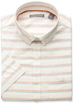 Michael Bastian Men's Short Sleeve Cotton Gray Stripe Shirt