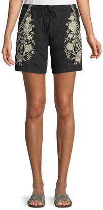 Johnny Was Briar Embroidered Linen Shorts, Plus Size
